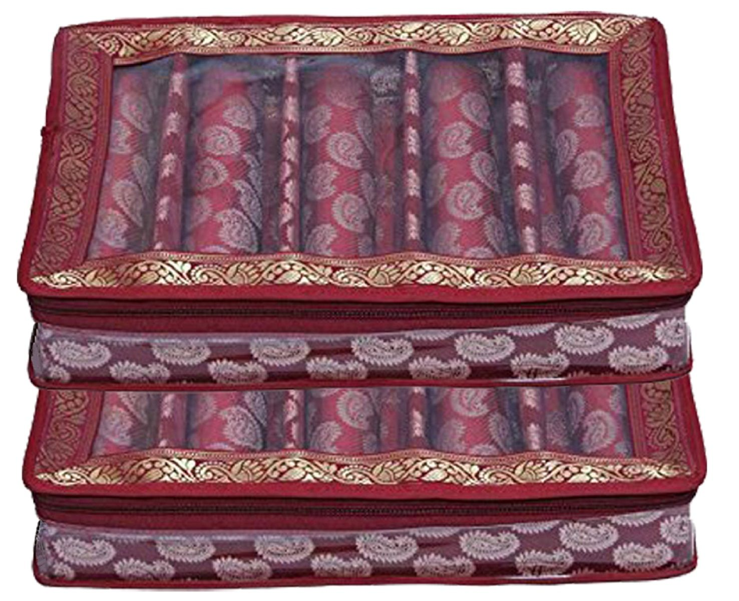 Kuber Industries™ 5 Roll Brocade Bangle box With Hard Board Support Set of 2 Pcs Maroon (Code-COM003)