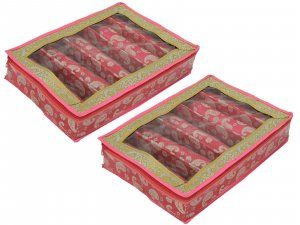 Kuber Industries™ 5 Roll Brocade Bangle box With Hard Board Support Set of 2 Pcs Pink (Code-COM001)