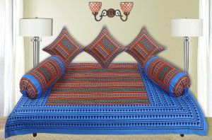 Kuber Industries™ 6 Piece Cotton Diwan Set Zig Zag Design (Red & Sky Blue)