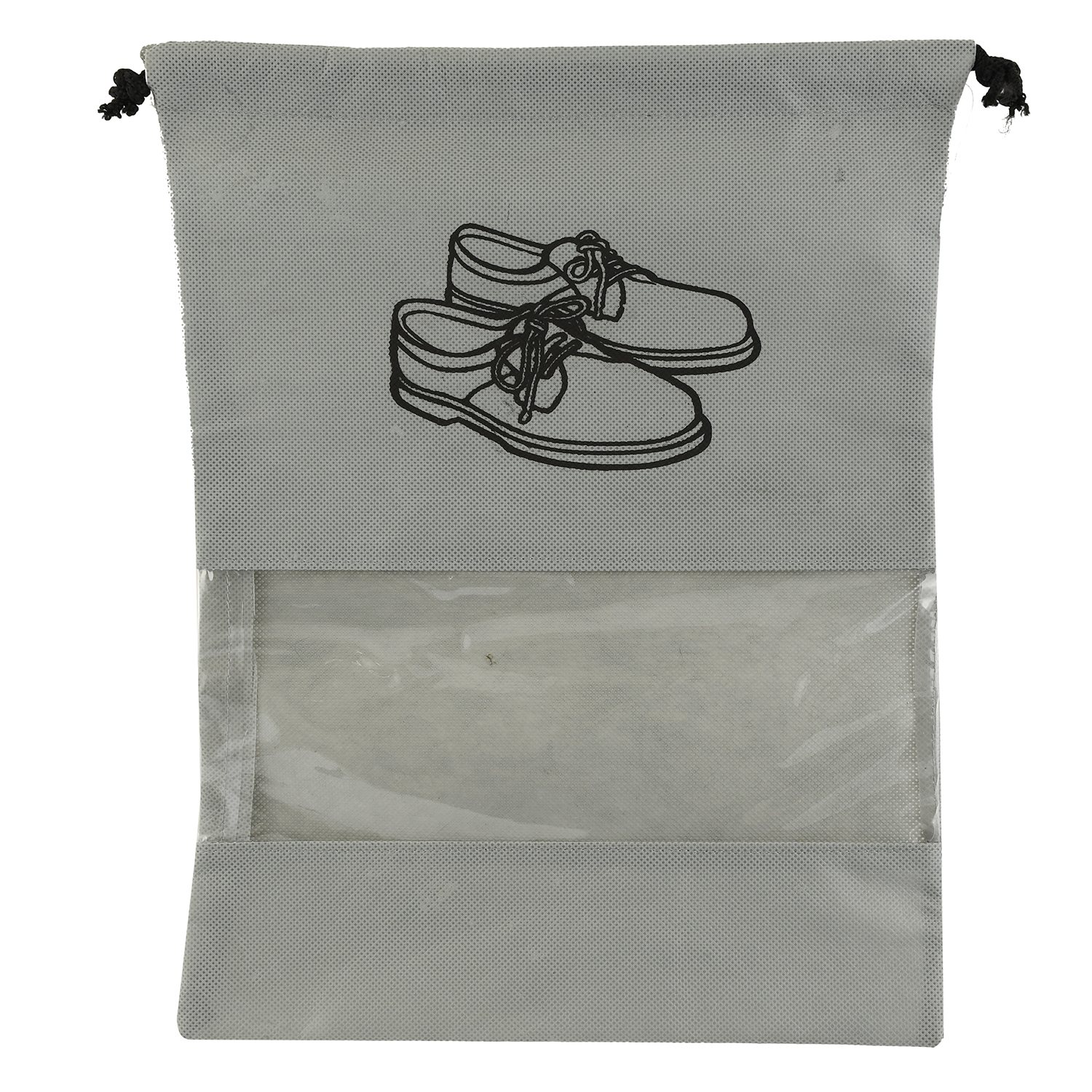 Kuber Industries 6 Piece Non Woven Travel Shoe Cover, String Bag Organizer, Grey -CTKTC39482