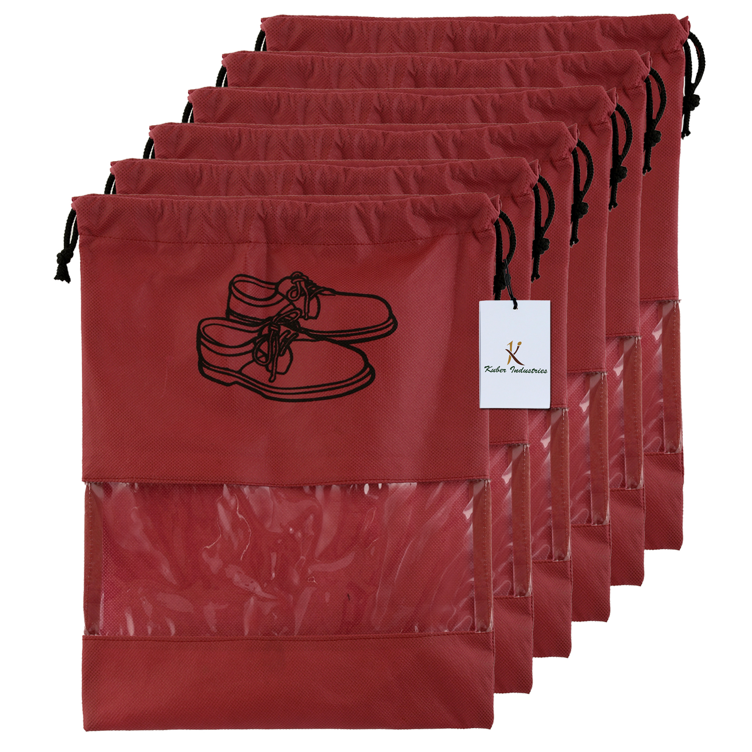 Kuber Industries 6 Piece Non Woven Travel Shoe Cover, String Bag Organizer, Maroon  -CTKTC39494