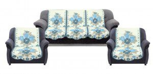 Kuber Industries™ 6 Pieces Cream & Blue Flower Sofa and Chair Cover Set For 5 Seater (Code-SFL09)