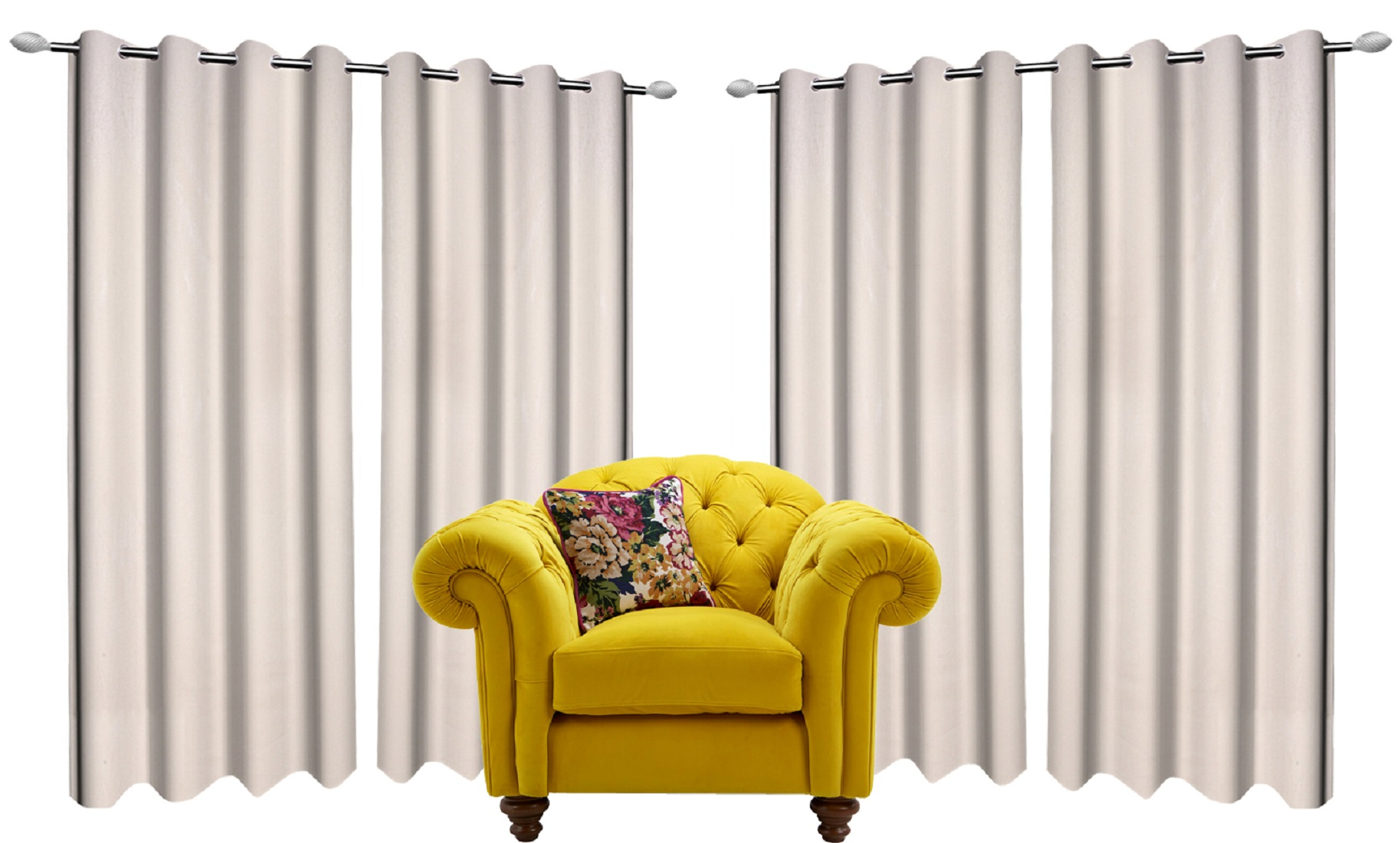 Kuber Industries 6 Pieces Polyester Eyelet Door Curtain 7 Feet (Cream)-CTKTC14335