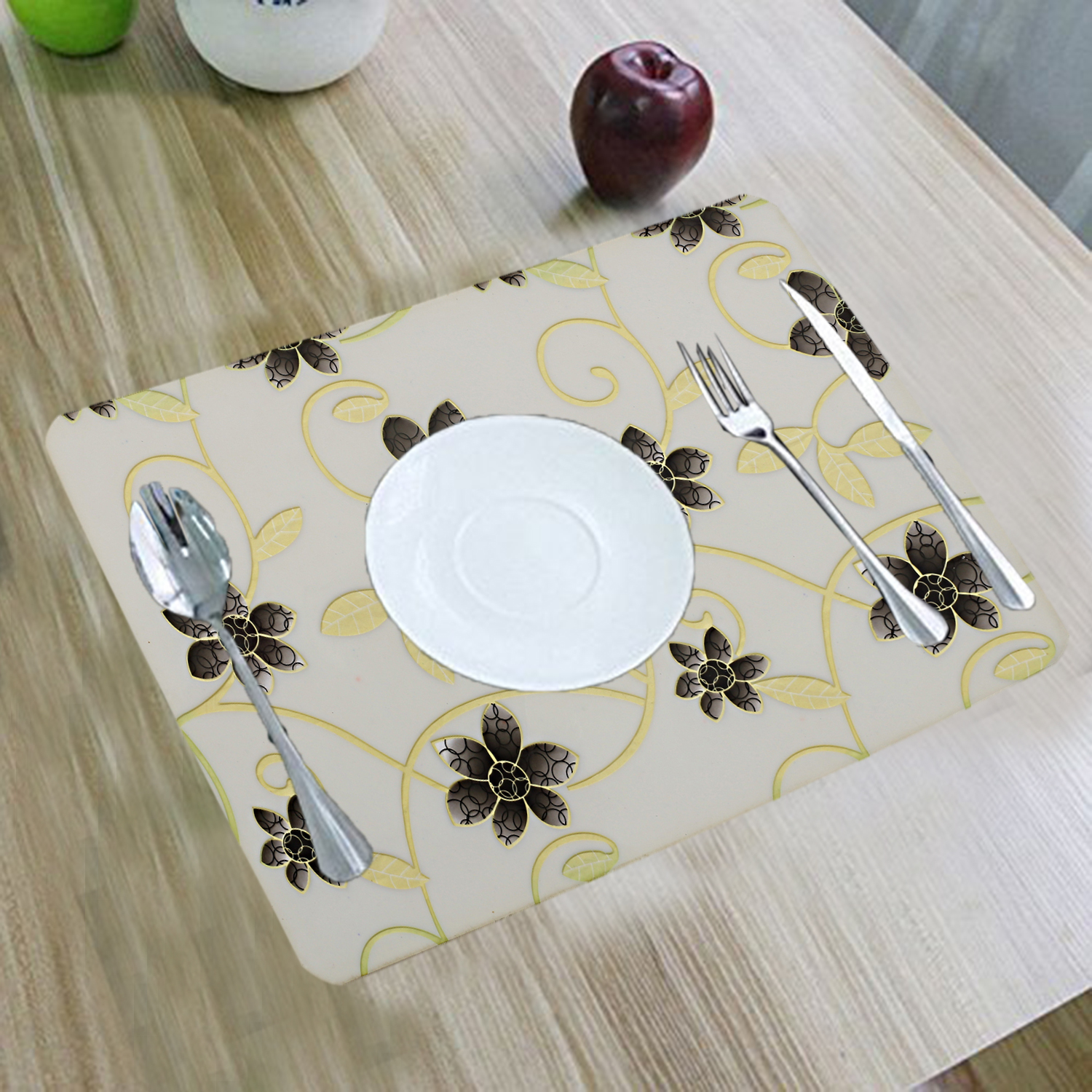"Kuber Industries 6 Pieces PVC Dining Table Place Mats (White) 12""x18""-CTKTC3419"