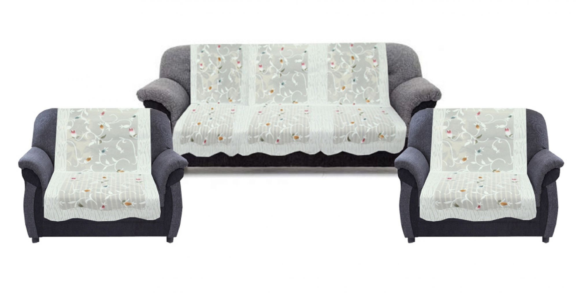 Surprising Kuber Industries 6 Pieces White Leaf Design Sofa And Chair Pabps2019 Chair Design Images Pabps2019Com