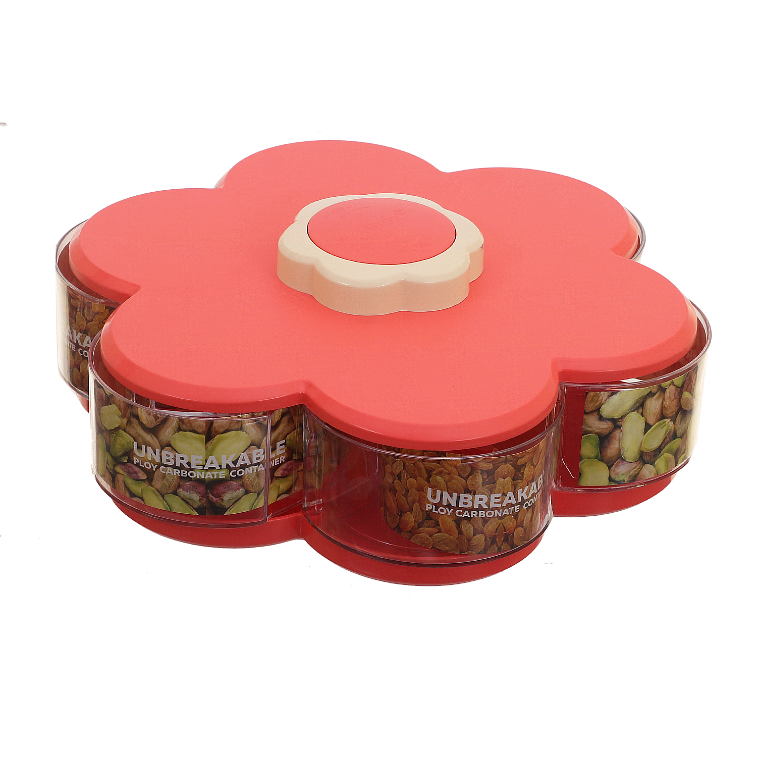 Kuber Industries 6 Sections Flower Candy Box Serving Rotating Tray Spice Jars Box Dry Fruit, Candy, Chocolate, Snacks Storage Box Home Kitchen (Pink) - CTKTC30676