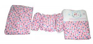 Kuber Industries™ Baby Full Sleeping Bedding Set Of 5 Pcs (1 Baby Mattress + 2 Baby Bolster Pillow+1 Baby Cushion Pillow +1 Baby Ac Quilt) Pink (Bed06)