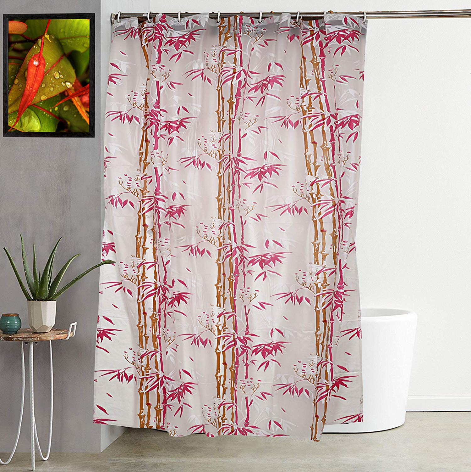 Kuber Industries Bamboo Design Waterproof PVC Shower Curtain with 8 Hooks 54 inch x 84 inch (Pink)