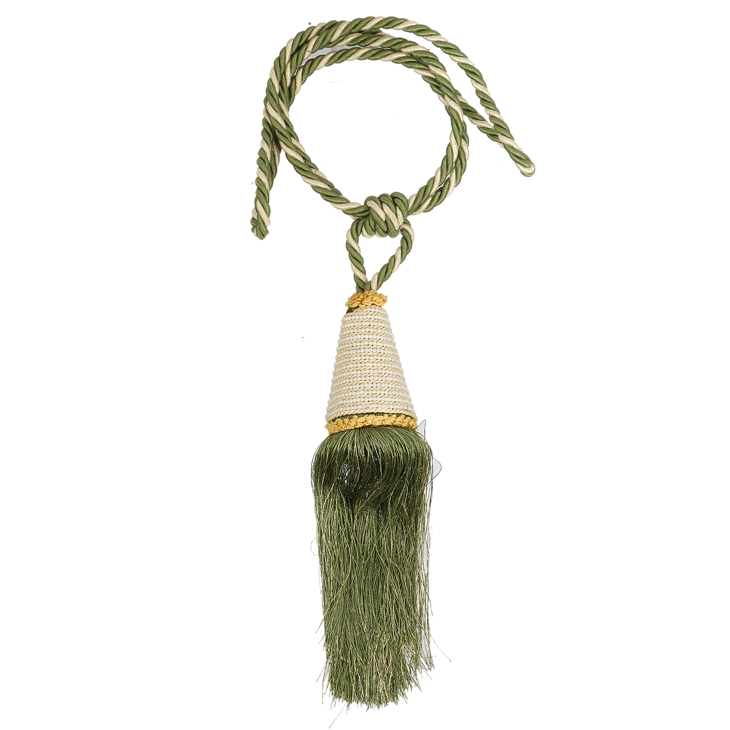 Kuber Industries Beads Beautiful Design Polyester 1 Piece Curtain Tie Back Tassel Set (Green)