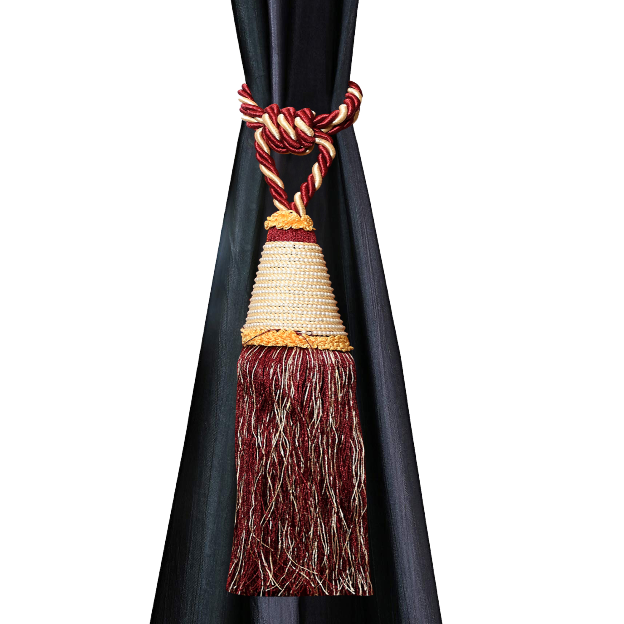 Kuber Industries Beads Beautiful Design Polyester 12 Pieces Curtain Tie Back Tassel Set (Maroon)