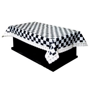 064f3cc3b87 Kuber Industries™ Black  amp  Cream Checkered Design Waterproof Center  Table Cover 4 Seater (