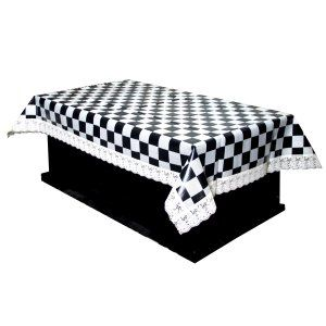 Kuber Industries™ Black & Cream Checkered Design Waterproof Center Table Cover 4 Seater (40*60 inches) Cream Lace Code-CTC41