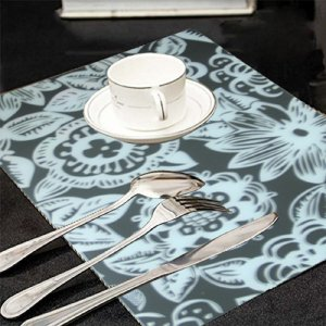 Kuber Industries Black & White Print Table Placemats - Set Of 6 Table Mats & 6 Coasters - Plastic Kitchen Linen (Assorted Design)  Code-PLAC08