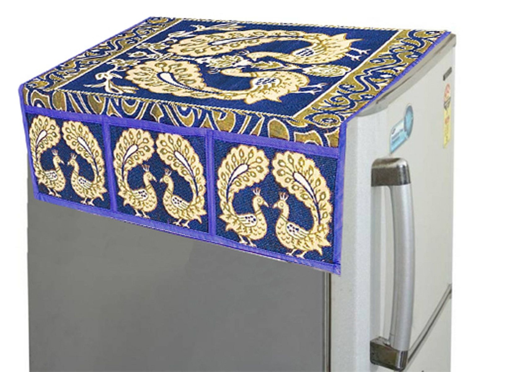 Kuber Industries™ Blue Peacock Fridge Top Cover (FC32)