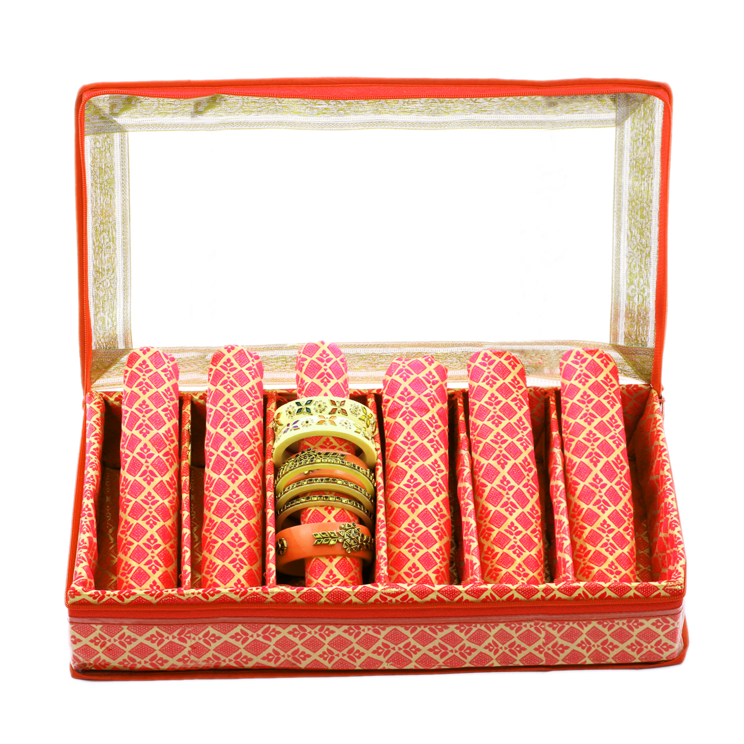 Kuber Industries Brocade Hardboard 2 Pieces Six Rod Bangle Box (Orange) - CTKTC22978