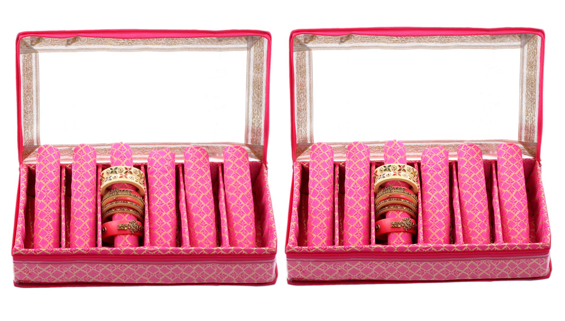Kuber Industries Brocade Hardboard 2 Pieces Six Rod Bangle Box (Pink) - CTKTC22930