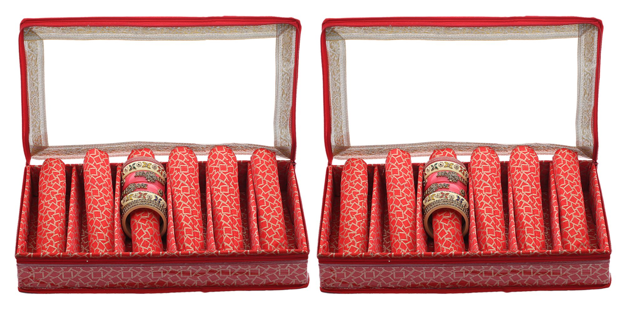 Kuber Industries Brocade Hardboard 2 Pieces Six Rod Bangle Box (Red) - CTKTC22903