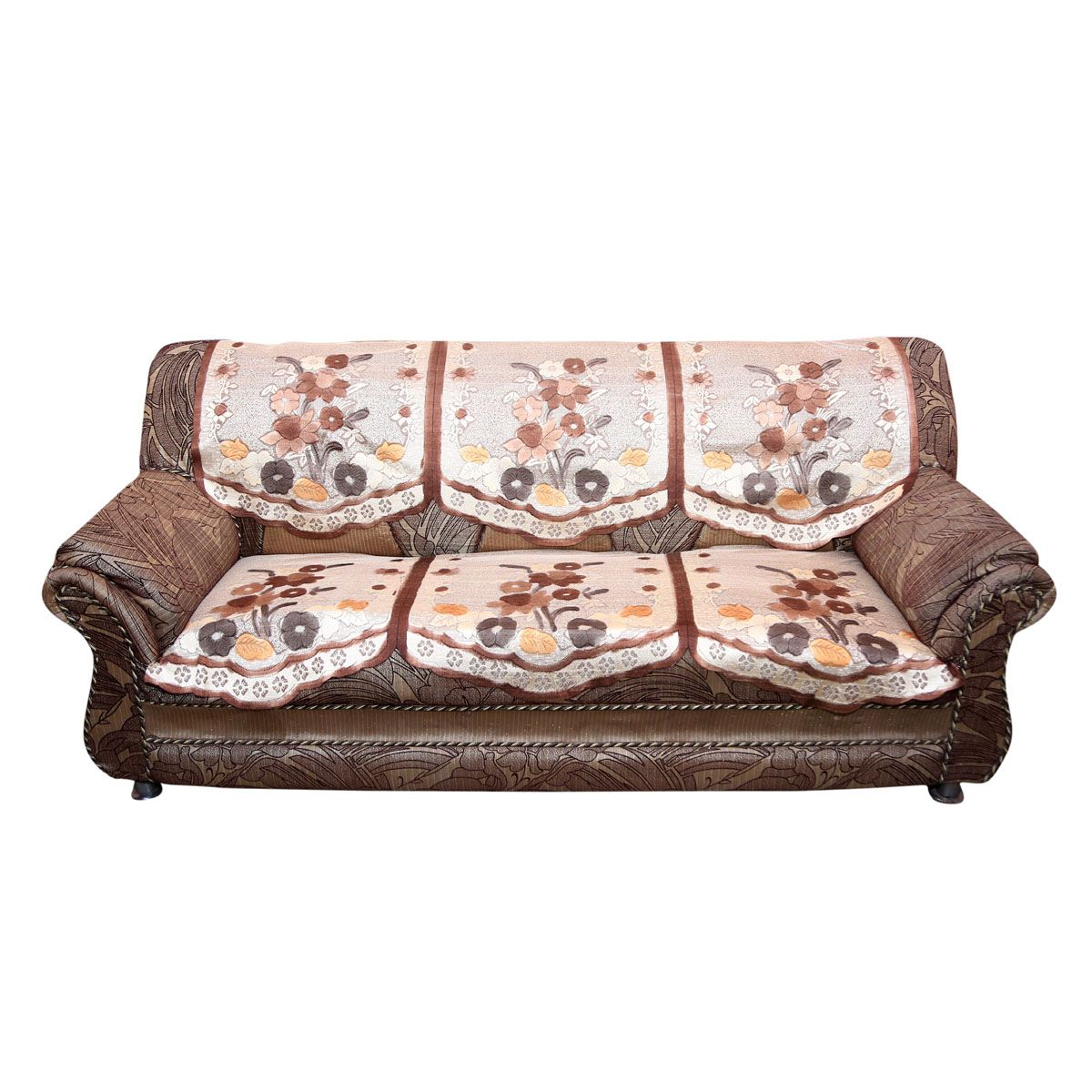 Kuber Industries™ Brown Flower 5 Seater Heavy Cloth Net Sofa Cover Set -10 Pieces (Brown & Cream) Code-KIC107
