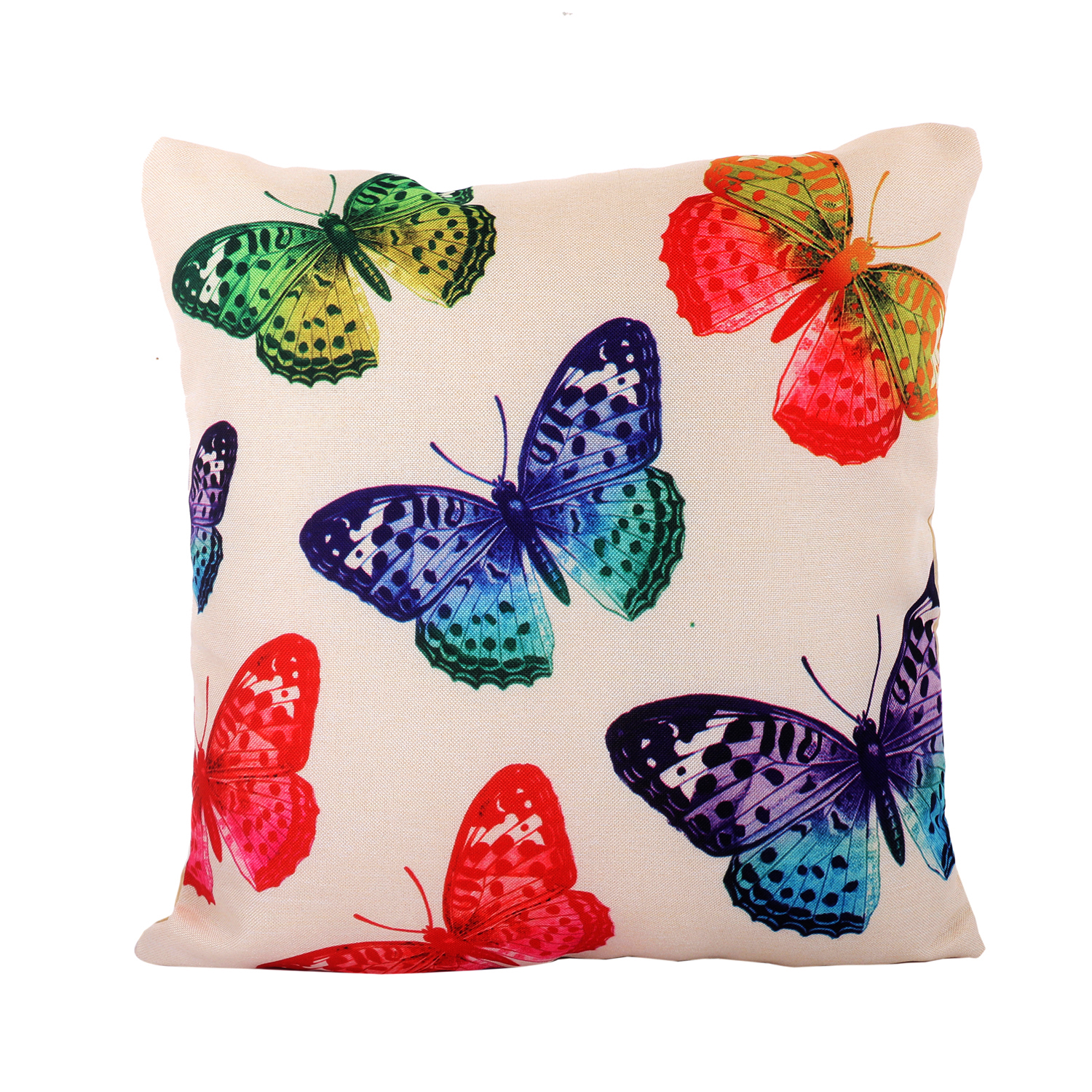 "Kuber Industries Butterfly Design 5 Pieces Cotton Cushion Cover - 16""x16""(Cream) -CTKTC24363"