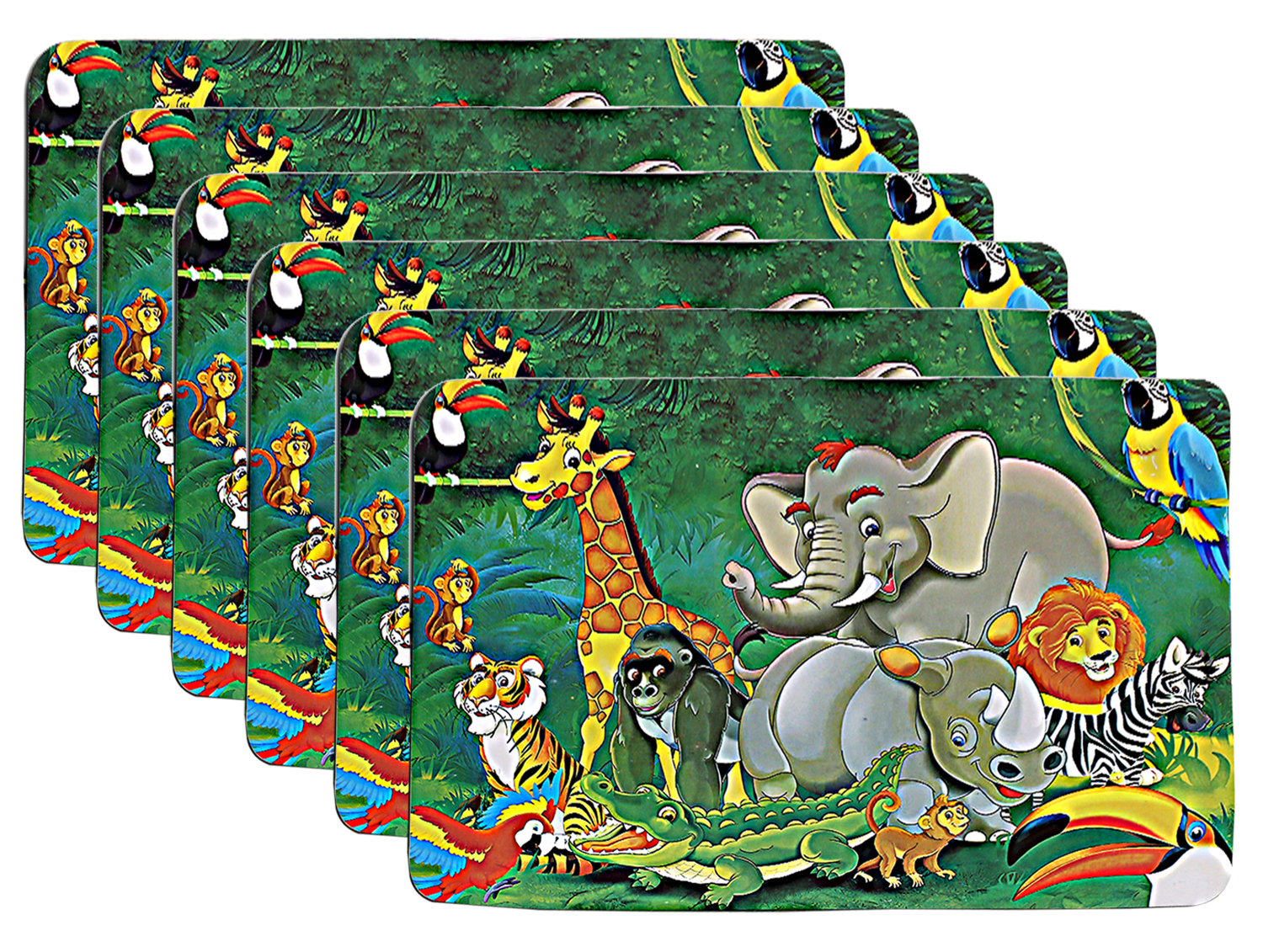 Kuber Industries Cartoon Design PVC 6 Piece Dining Table Placemat Set(Green)-CTKTC32195