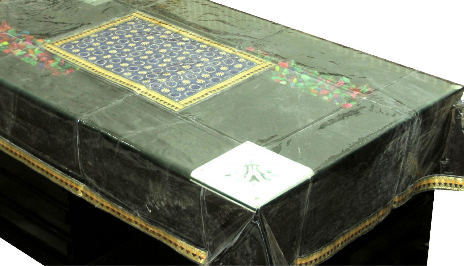 Kuber Industries™ Center Table Cover Blue Laminated Patch Design For 4 Seater (Dimension-40*60 Inches) Code-CTC58