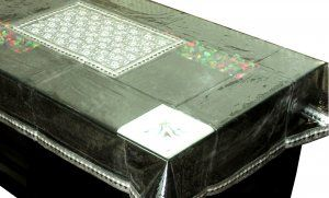Kuber Industries™ Center Table Cover Silver Flower Laminated Patch Design For 4 Seater (Dimension-40*60 Inches) Code-CTC60