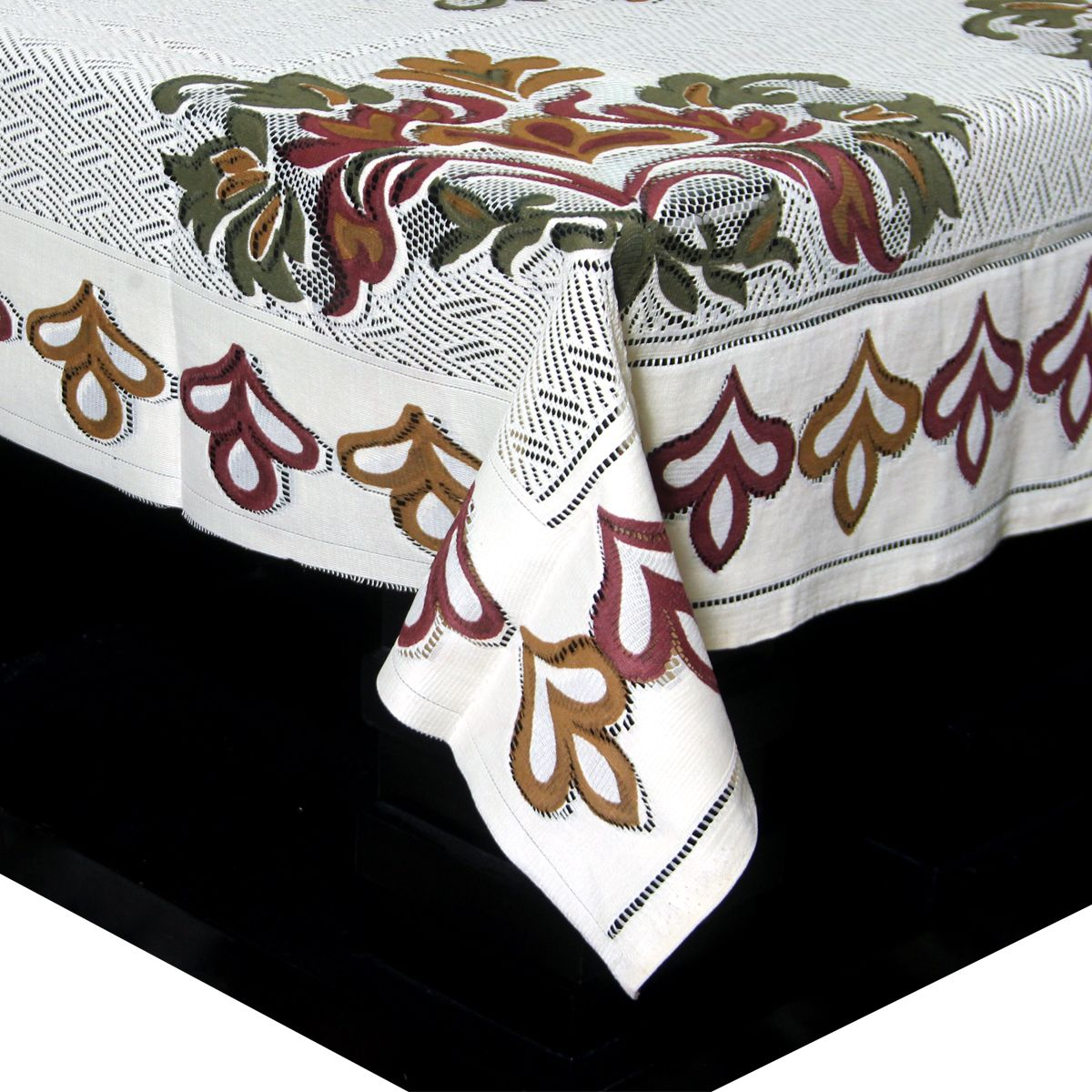 Kuber Industries™ Center Table Cover Snow Cream Cloth Net For 4 Seater 40*60 Inches (Floral Design) Code-CTC13