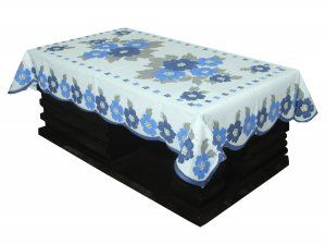 Kuber Industries™ Center Table Cover White & Blue Cloth Net For 4 Seater 40*60 Inches (Flower Design) Code-CTC21