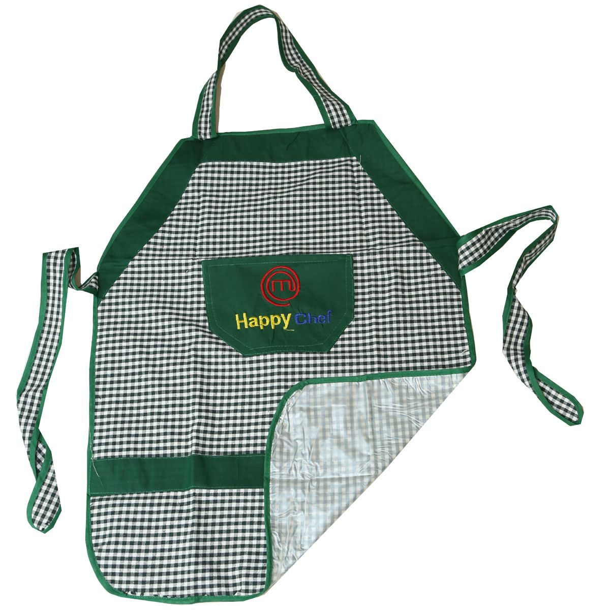 Kuber Industries™ Check Design Waterproof Kitchen Apron With Front Pocket Set of 4 Pcs (Green+Black) (Code- Ap018)