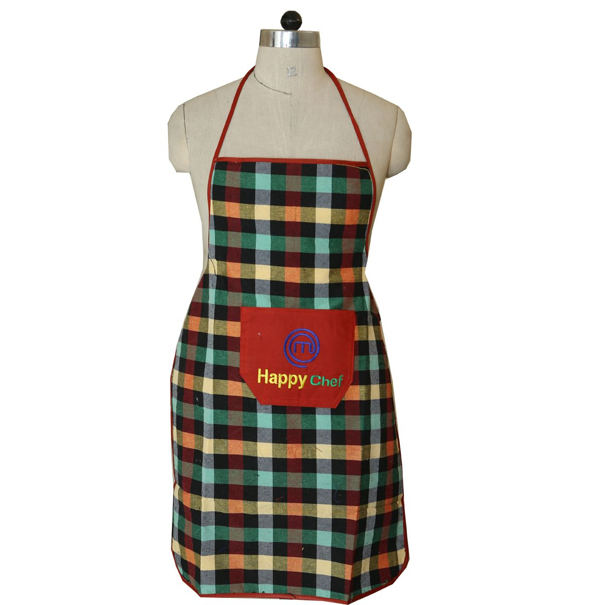 Kuber Industries™ Check Design Waterproof Kitchen Apron With Front Pocket Set of 8 Pcs (Green+Black) (Code- Ap025)