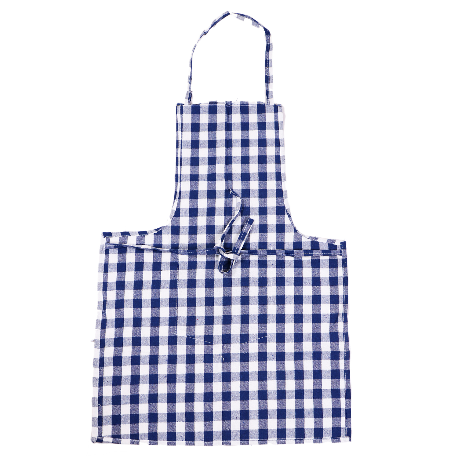 Kuber Industries Checkered Design 3 Pieces Cotton Kitchen Apron with Front Pocket (Blue & White)-CTKTC32594