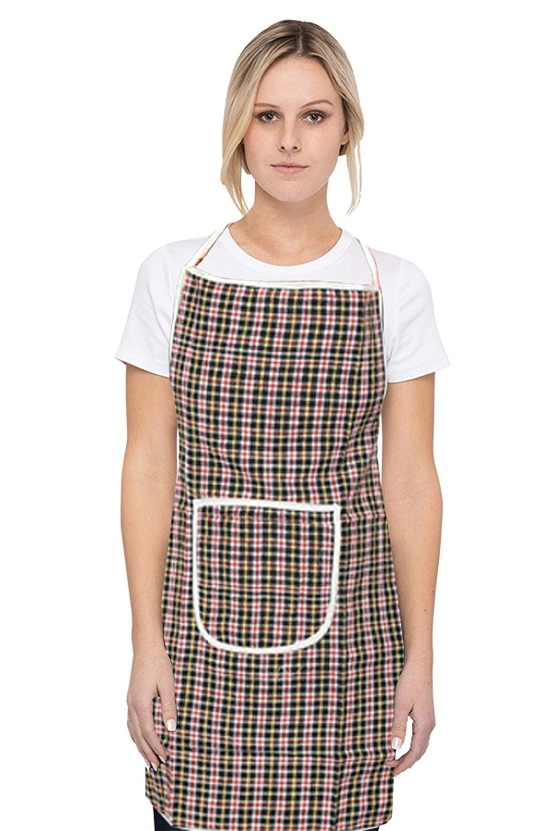 Kuber Industries Checkered Design 3 Pieces Cotton Kitchen Apron with Front Pocket (Multi)-CTKTC32669