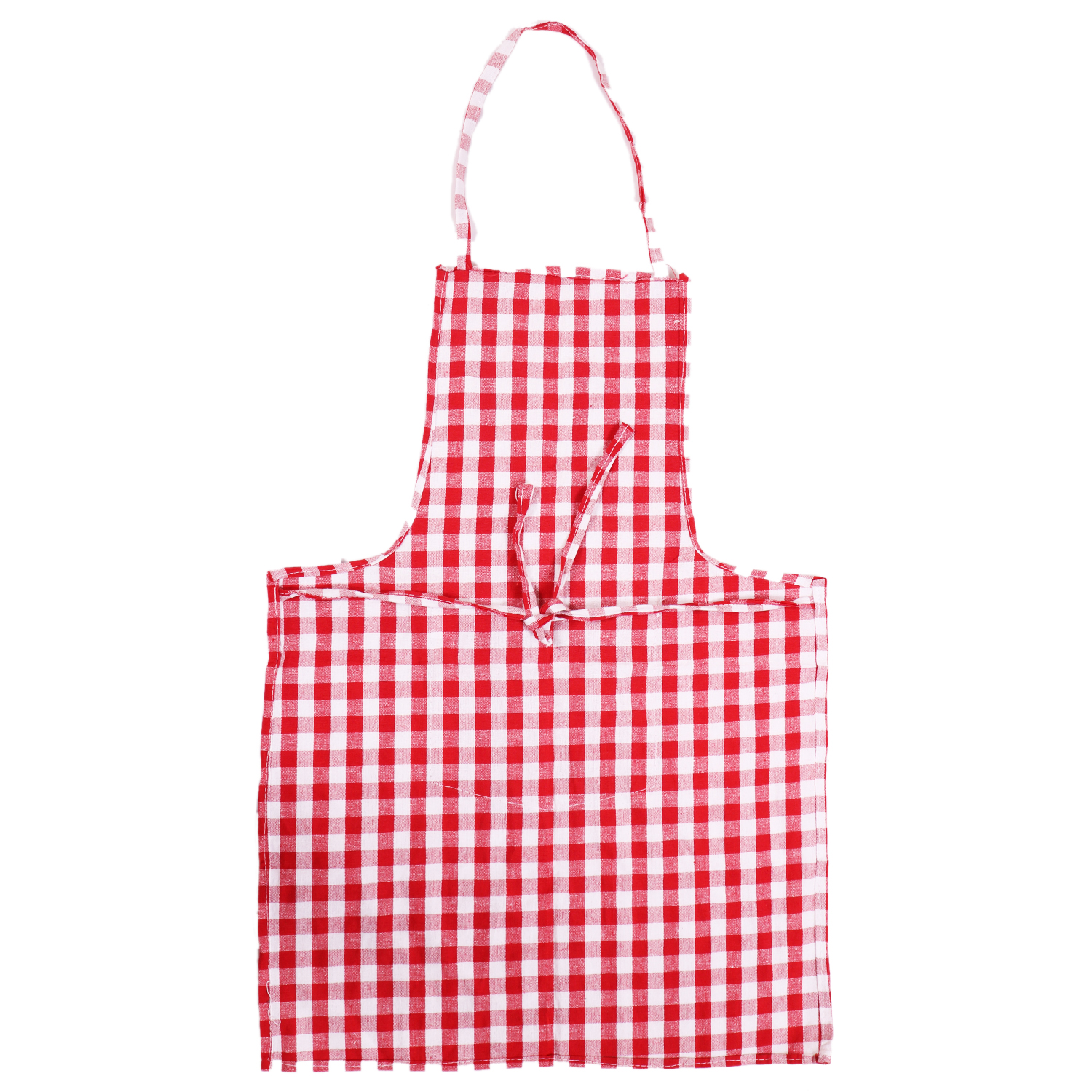Kuber Industries Checkered Design 3 Pieces Cotton Kitchen Apron with Front Pocket (Red & White)-CTKTC32586
