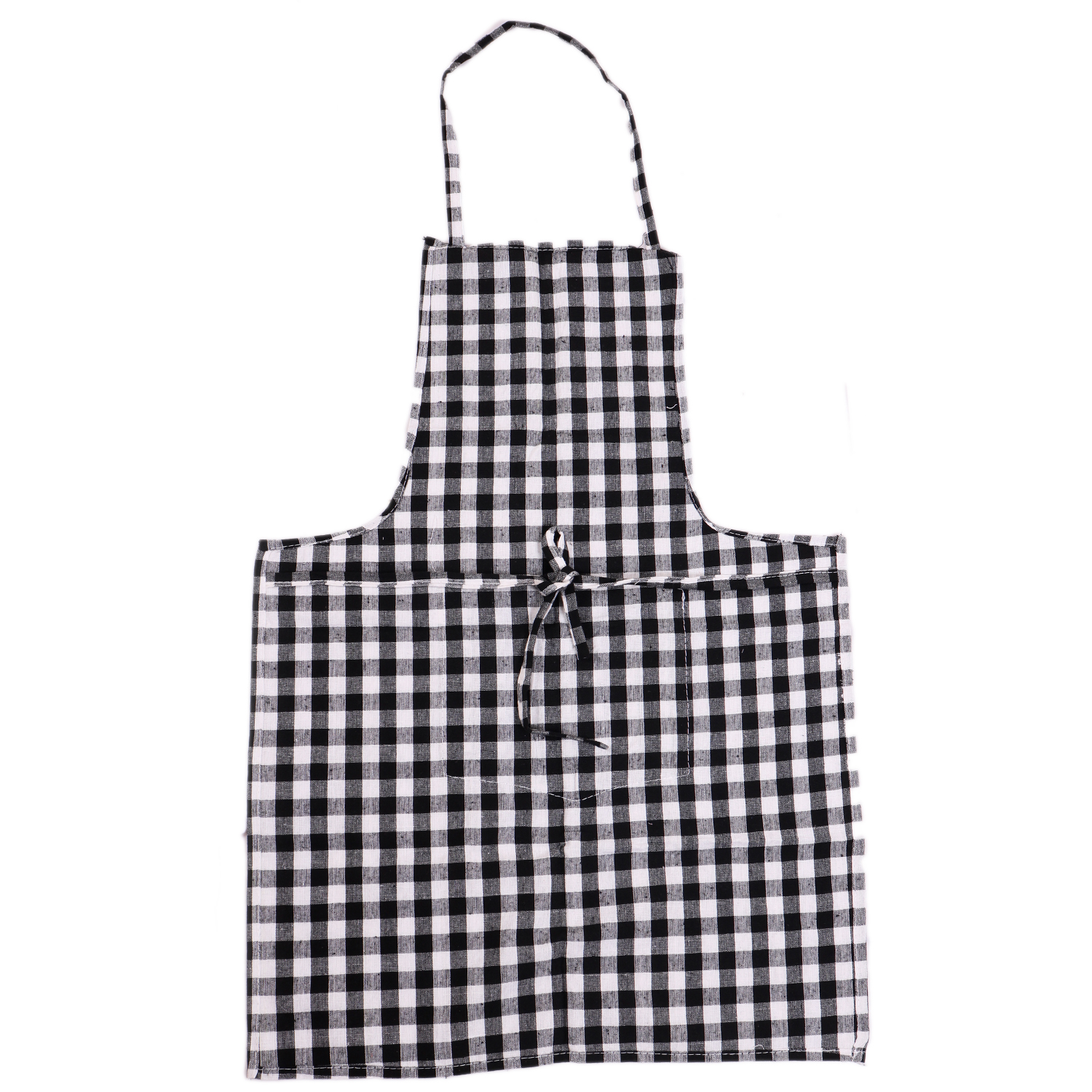 Kuber Industries Checkered Design 3 Pieces Kitchen Apron with Front Pocket (Red, Black & Yellow)-CTKTC32637