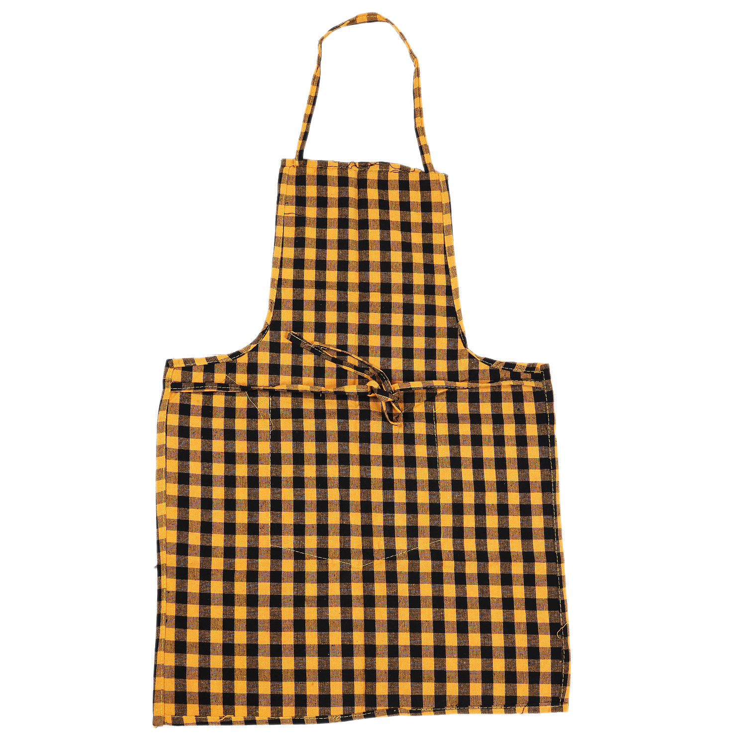 Kuber Industries Checkered Design 4 Pieces Kitchen Apron with Front Pocket (Blue, Black, Maroon & Yellow)-CTKTC32640