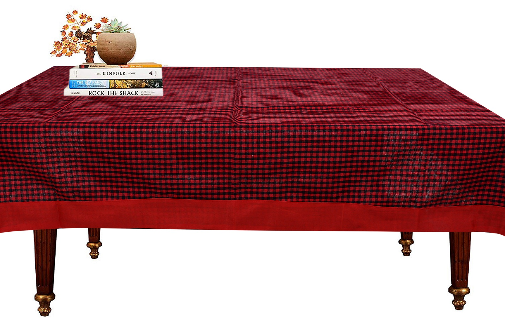 "Kuber Industries Checkered Design Cotton 4 Seater Center Table Cover 60""x40""(Maroon) - CTKTC40116"