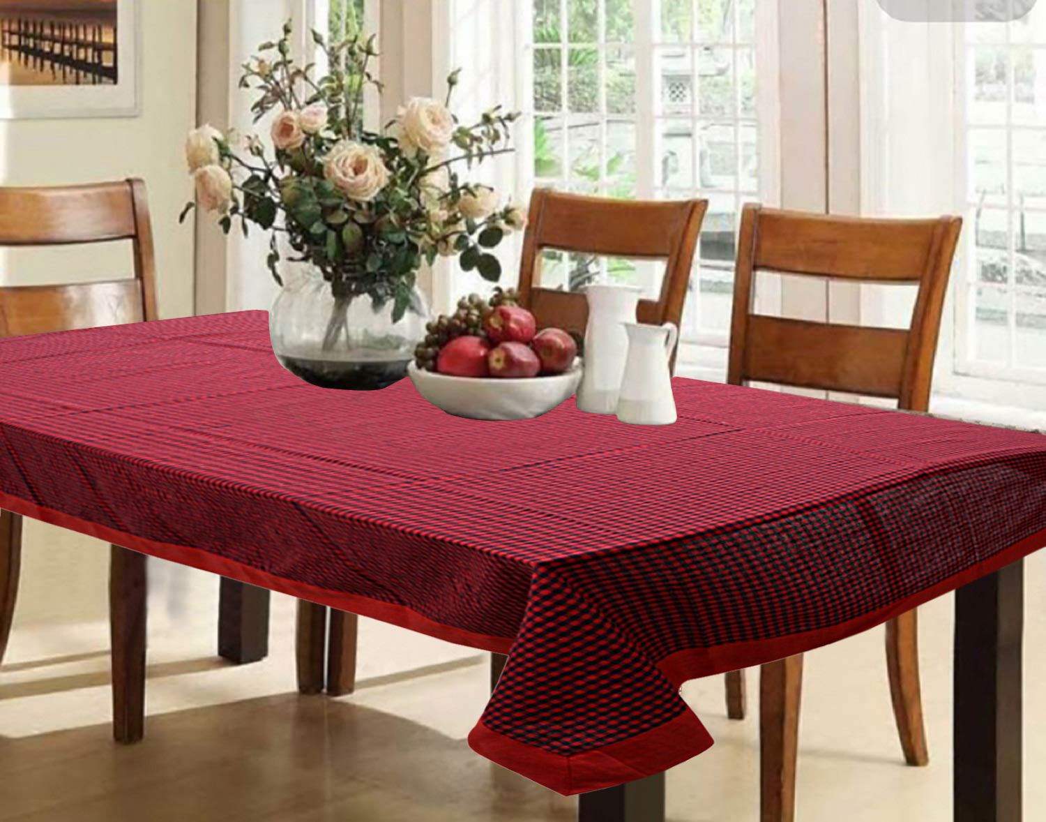"Kuber Industries Checkered Design Cotton 6 Seater Dining Table Cover 60""x90"" (Maroon) - CTKTC40138"