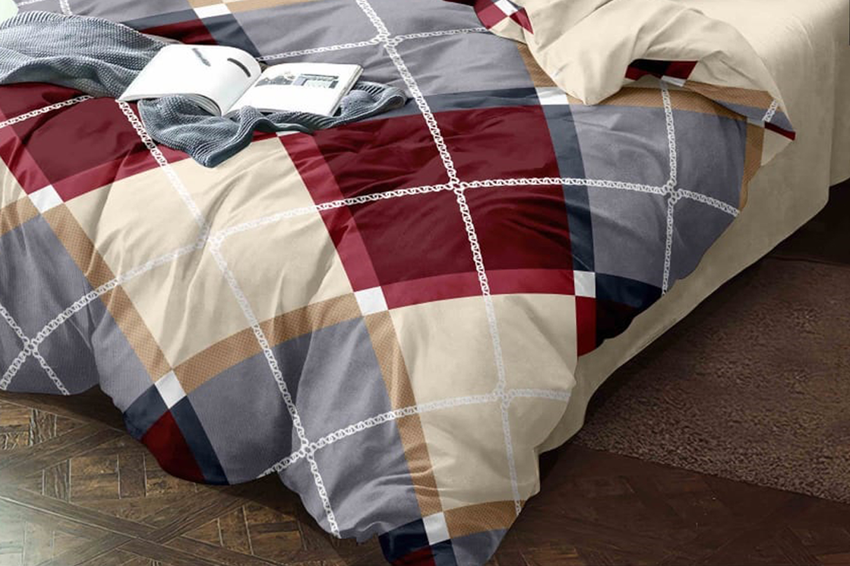 Kuber Industries Checkered Design Glace Cotton AC Comforter King Size Bed Comforter, Double Bed Sheet, 2 Pillow Cover (Brown, 90x100 Inches)-Set of 4 Pieces-CTKTC33191