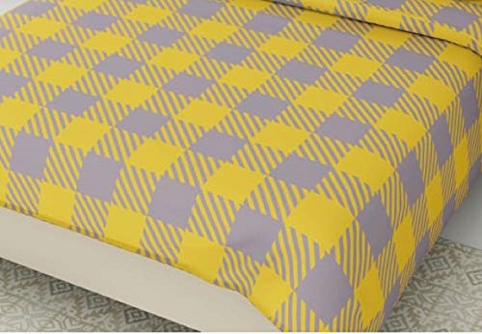 Kuber Industries Checkered Design Glace Cotton Double Bedsheet with 2 Pillow Covers (Yellow & Grey)-CTKTC33163