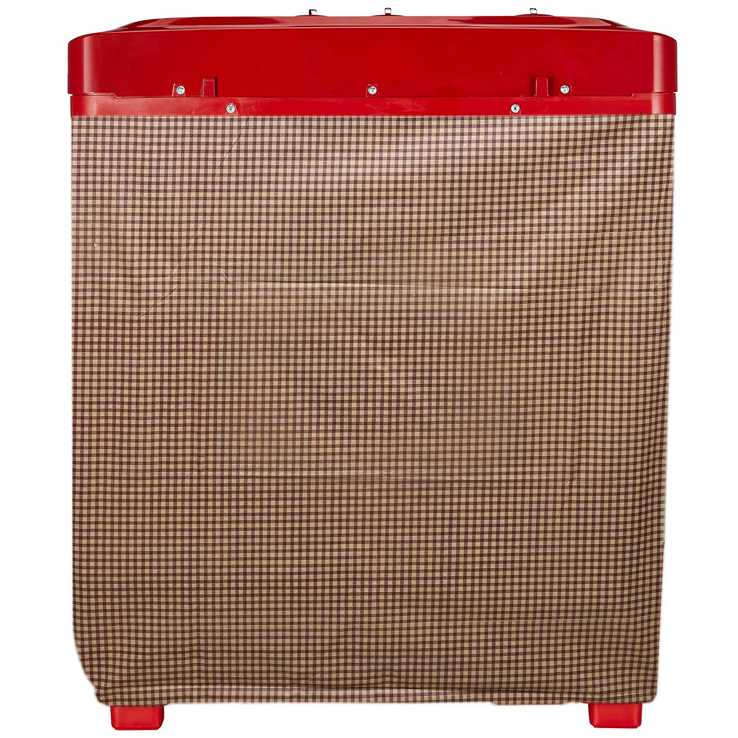 Kuber Industries Checkered Design PVC Top Load Semi Automatic Washing Machine Cover (Brown)-CTKTC14412