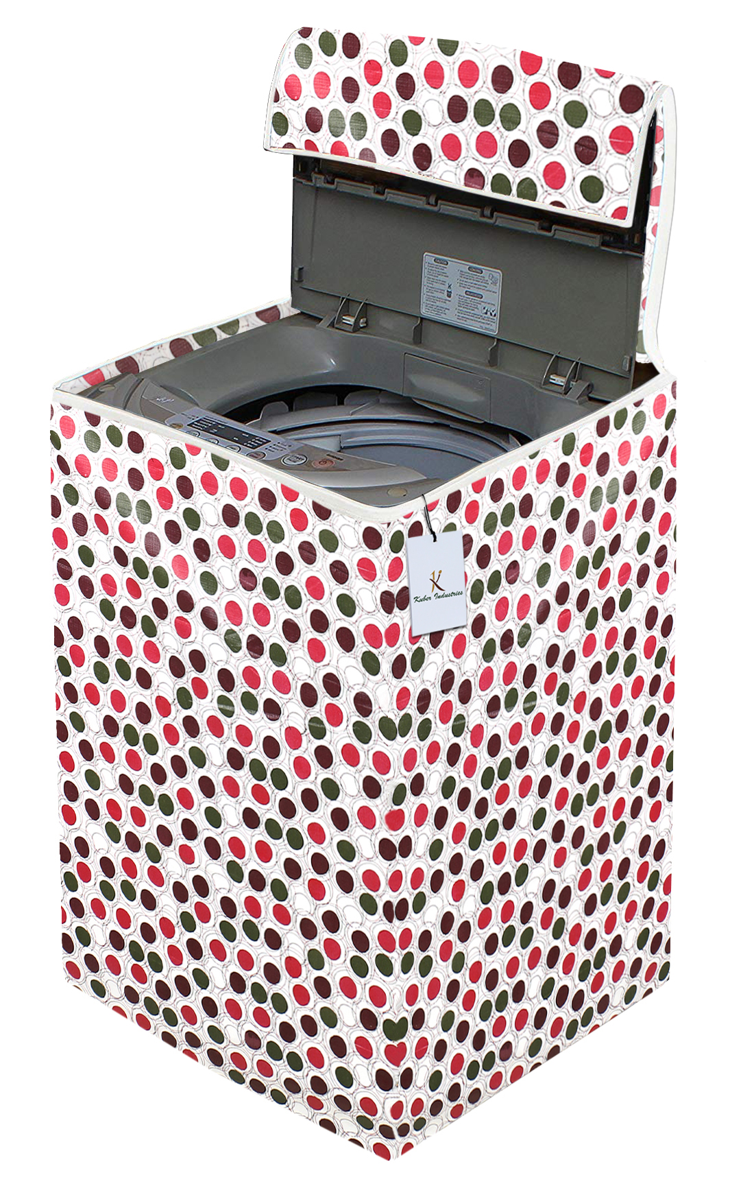 Kuber Industries Circle Design PVC Top Load Fully Automatic Washing Machine Cover (Brown)