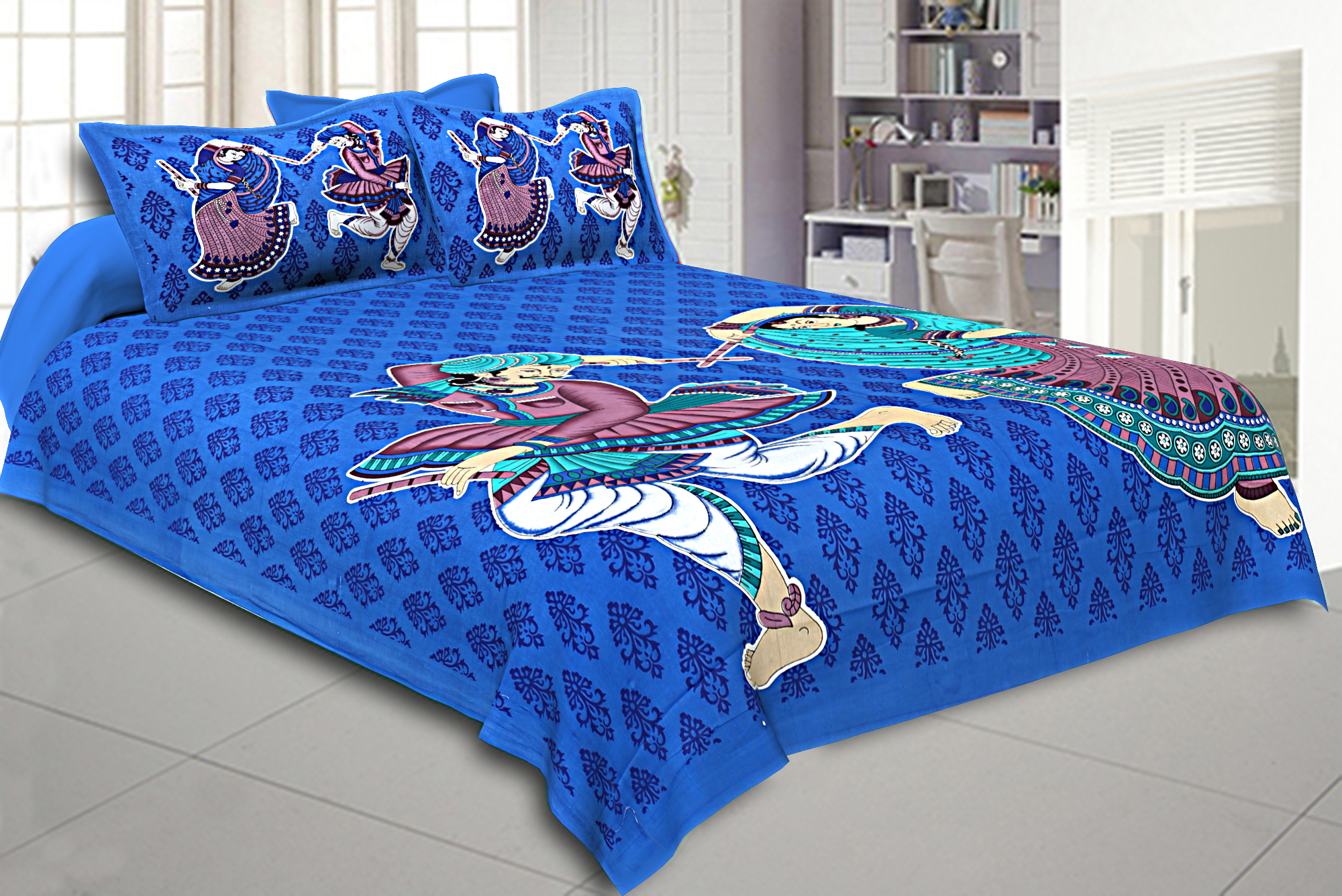 Kuber Industries Cotton 144 TC Double Bedsheet with 2 Pillow Covers (Blue)-CTKTC3462