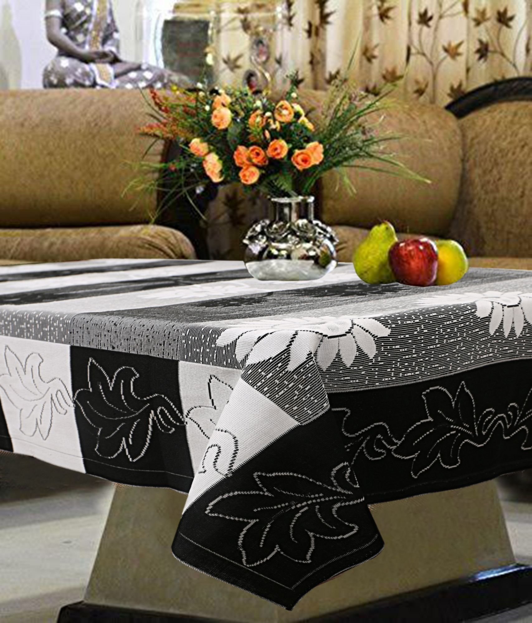 Picture of: Kuber Industries Cotton 4 Seater Center Table Cover Black Ctktc3495