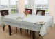 Kuber Industries Cotton 6 Seater Dining Table Cover (Cream)-CTKTC3515