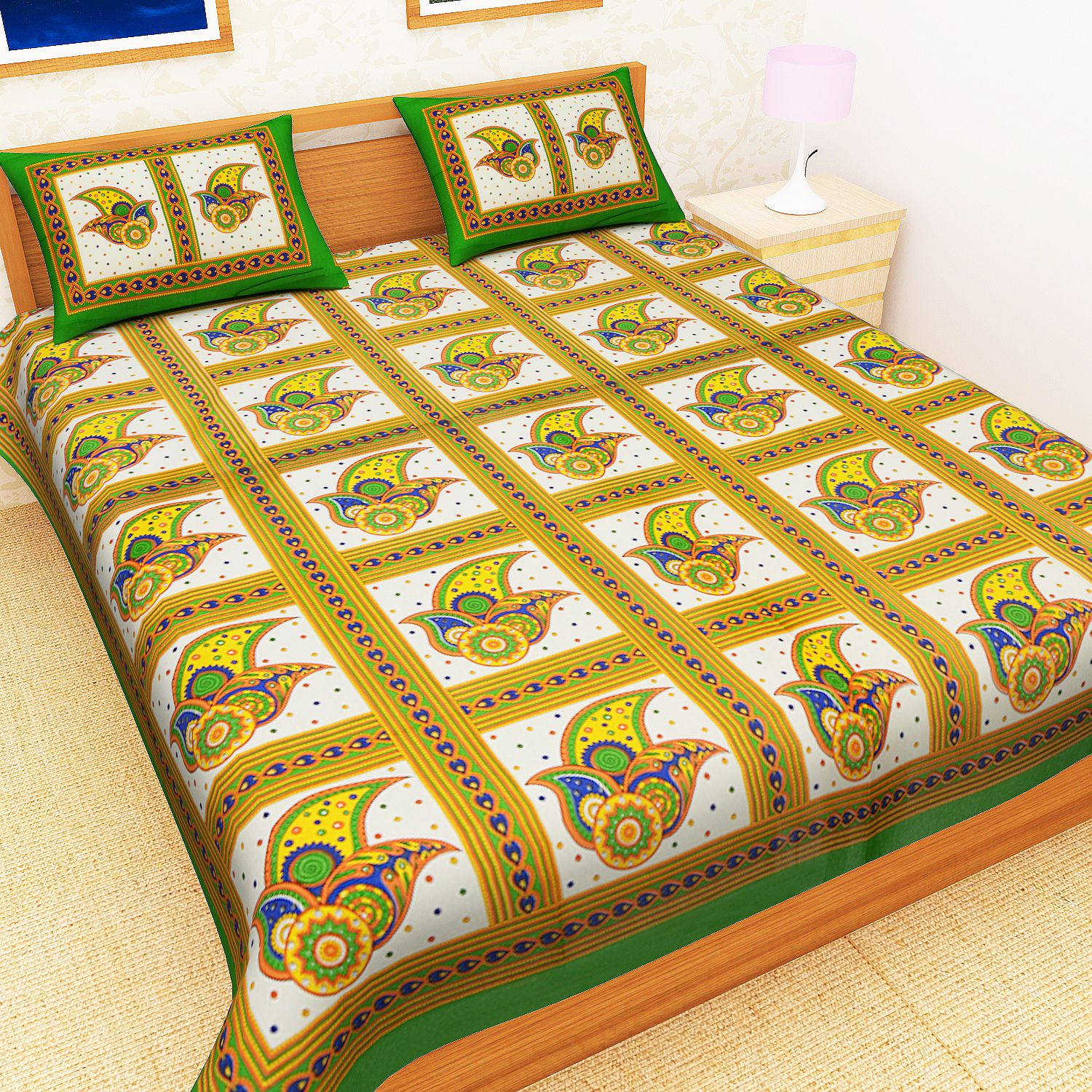 Kuber Industries™ Cotton Double Bedsheet with 2 Pillow Covers - Green (Colorful Leaf Design)