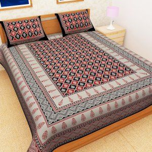 Kuber Industries™ Cotton Double Bedsheet with 2 Pillow Covers - Red & Black (Exclusive Bagru Design) Code-Bedss25