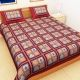 Kuber Industries™ Cotton Double Bedsheet with 2 Pillow Covers - Red (Checkered Design)