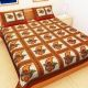 Kuber Industries™ Cotton Double Bedsheet with 2 Pillow Covers - Red (Colorful Leaf Design)