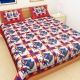 Kuber Industries™ Cotton Double Bedsheet with 2 Pillow Covers -Red (Dandiya Design)