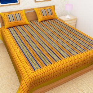 Kuber Industries™ Cotton Double Bedsheet with 2 Pillow Covers -Yellow (Zig Zag Design)